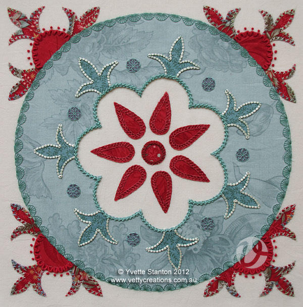 Suzani embroidered applique panel