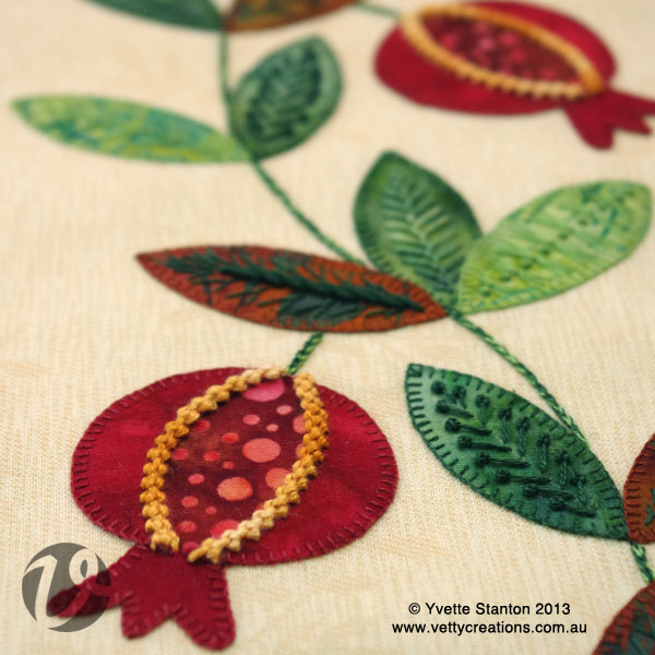 pomegranate embroidery applique class