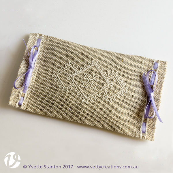 Sardinian knotted embroidery lavender sachet beginners project